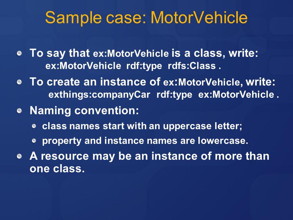 Sample case: MotorVehicle