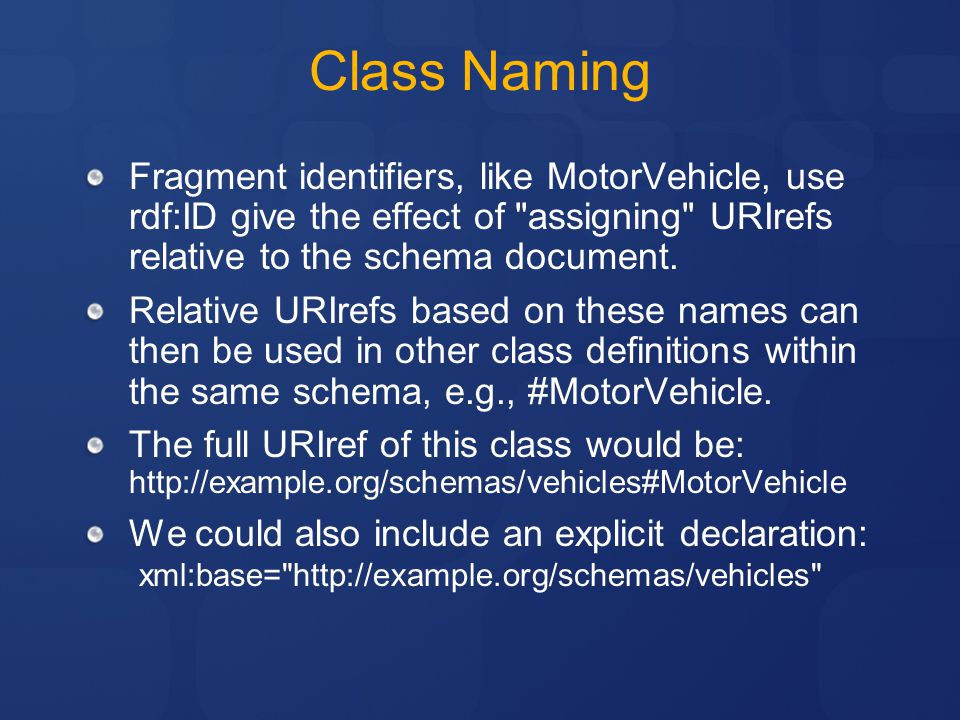 Class Naming Fragment identifiers, like MotorVehicle, use rdf:ID give the effect of assigning URIrefs relative to the schema document.