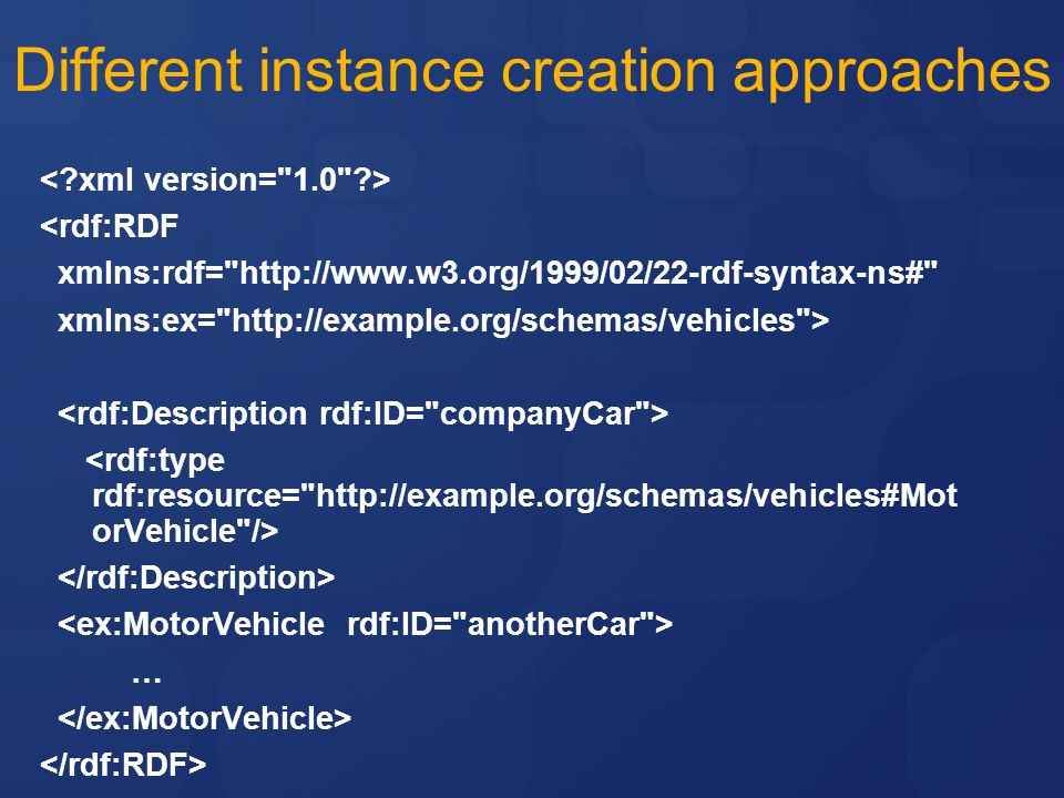 Different instance creation approaches