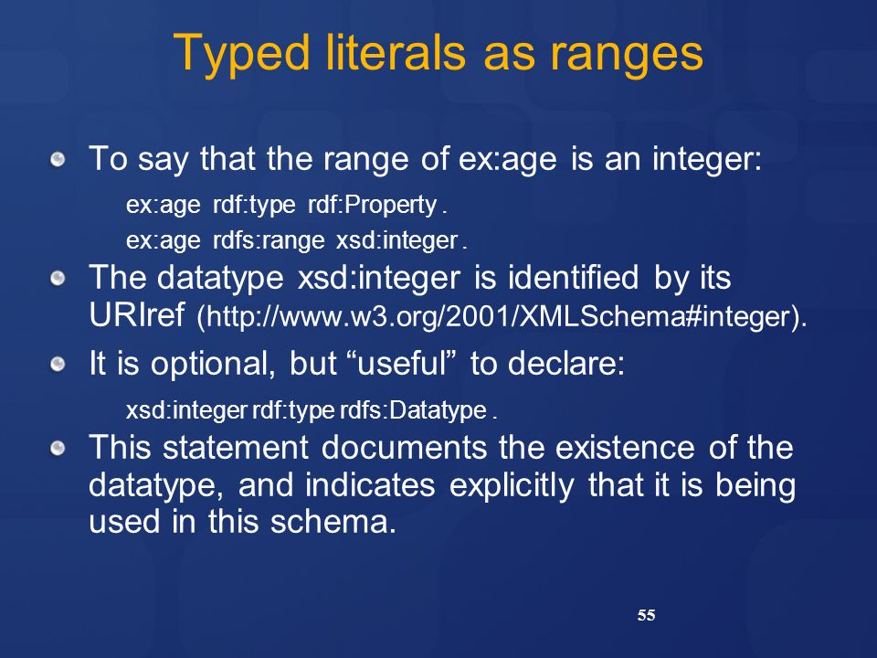 Typed literals as ranges