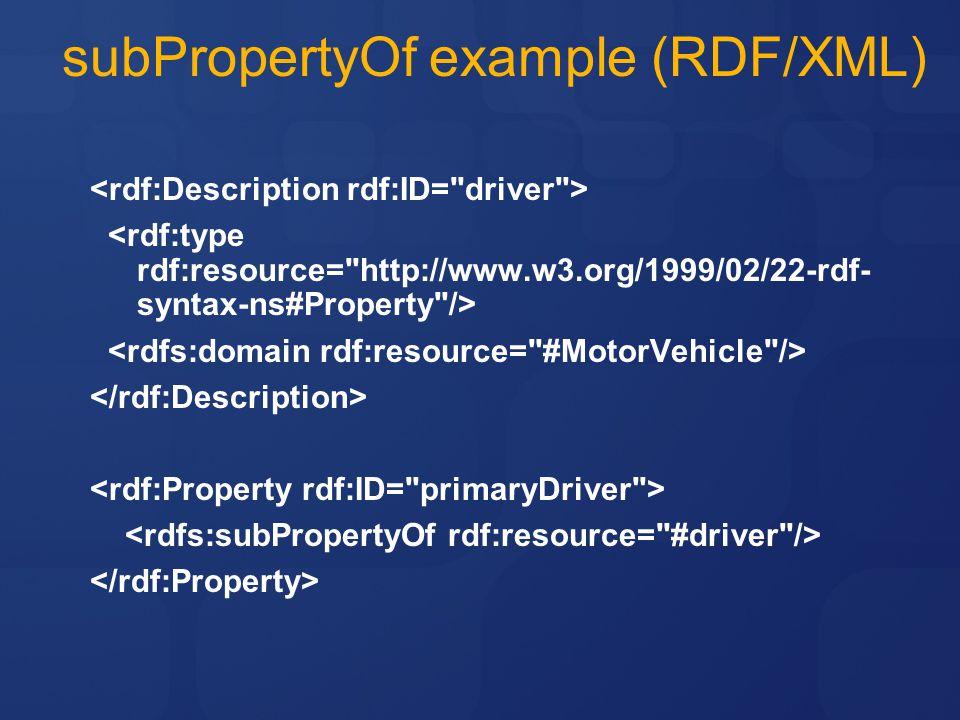 subPropertyOf example (RDF/XML)