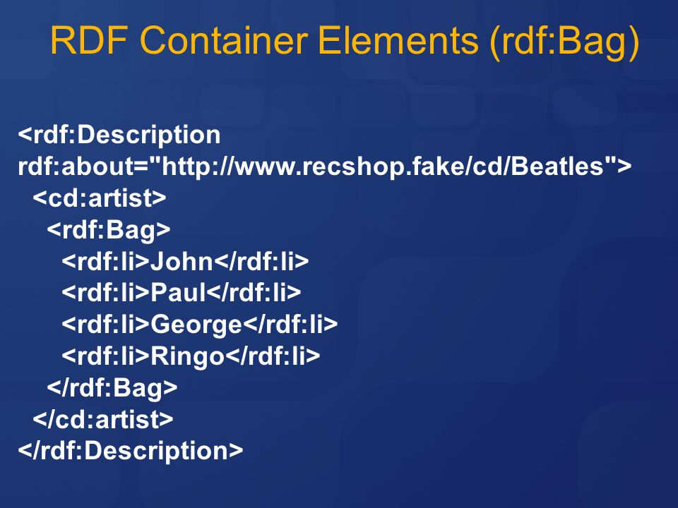 RDF Container Elements (rdf:Bag)