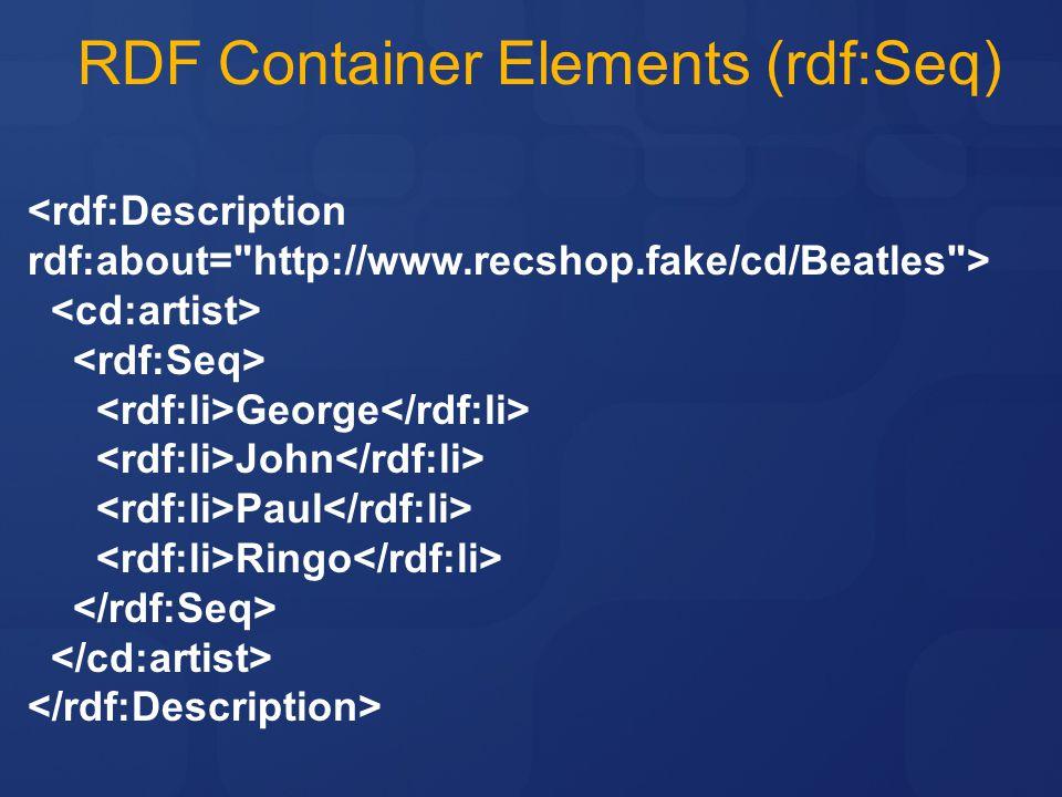 RDF Container Elements (rdf:Seq)