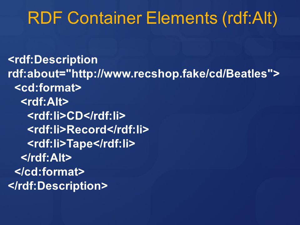 RDF Container Elements (rdf:Alt)