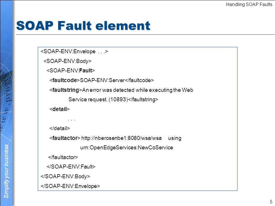 SOAP Fault element <SOAP-ENV:Envelope . . .>