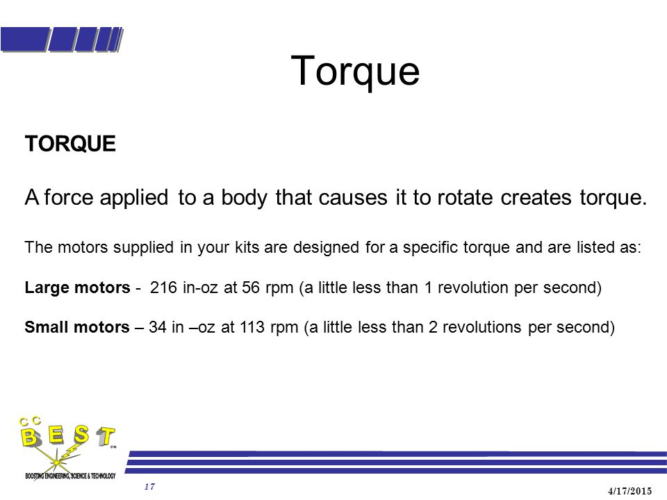 Torque TORQUE. A force applied to a body that causes it to rotate creates torque.