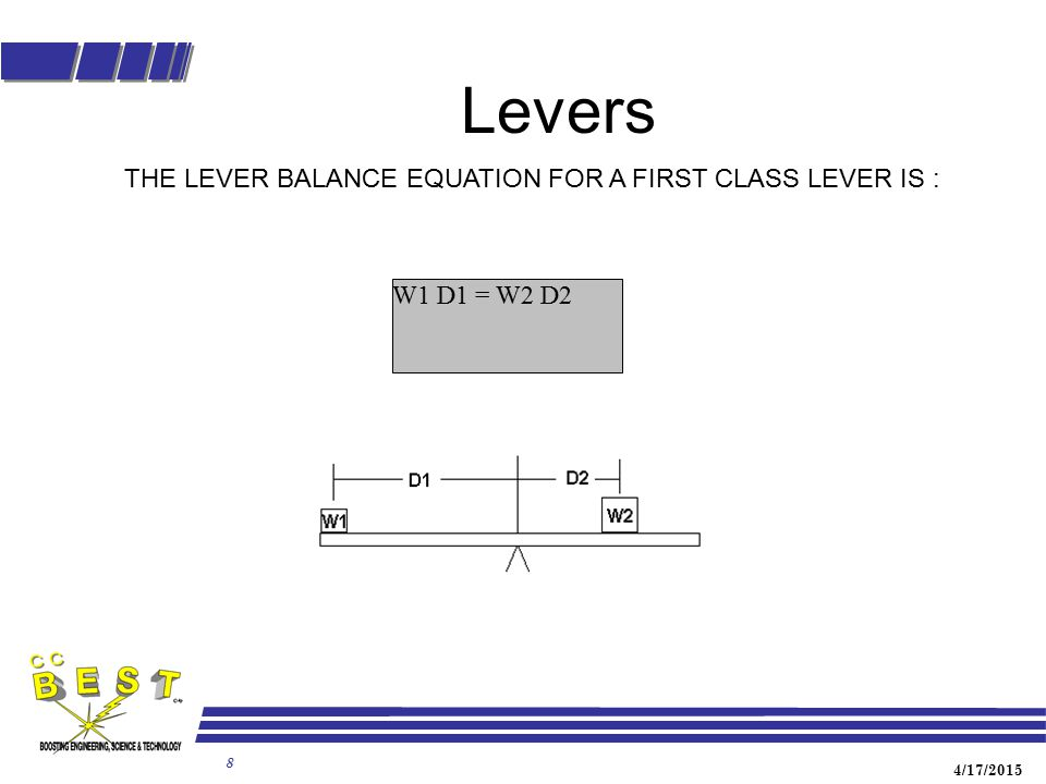 Levers THE LEVER BALANCE EQUATION FOR A FIRST CLASS LEVER IS :