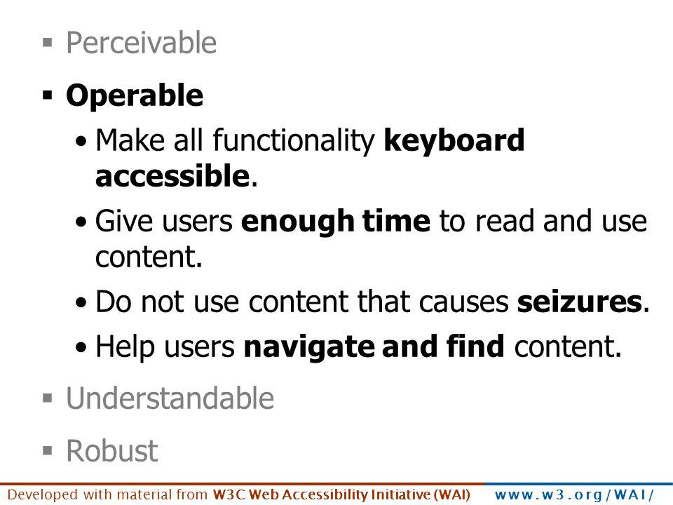 Principles - Operable Perceivable Operable
