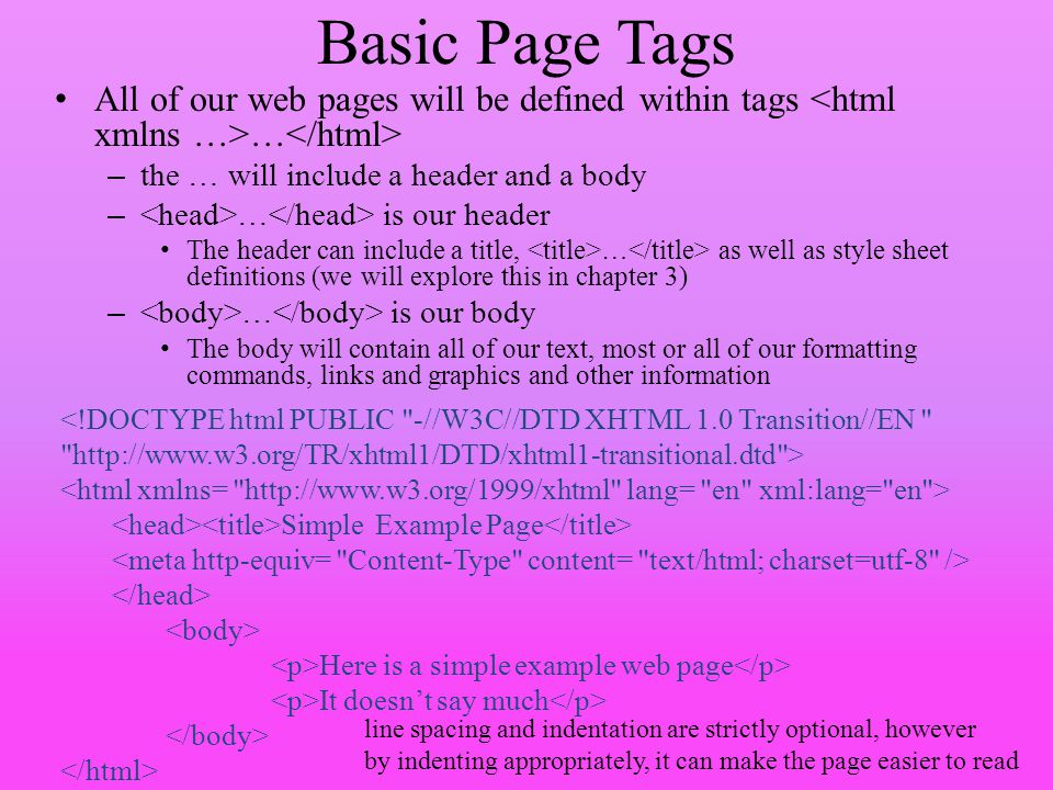 Basic Page Tags All of our web pages will be defined within tags <html xmlns …>…</html> the … will include a header and a body.