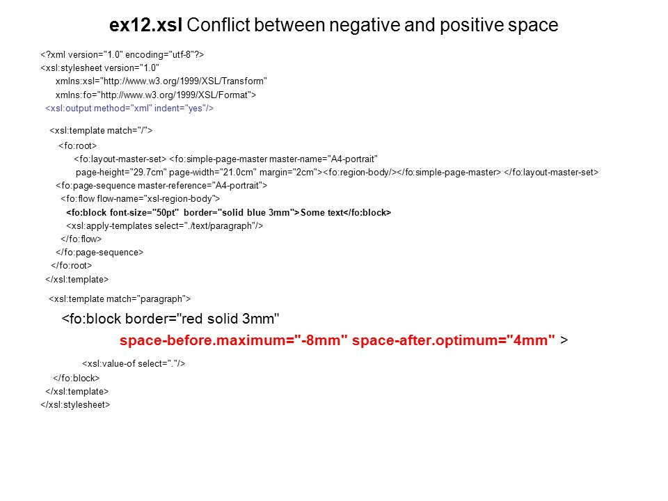 ex12.xsl Conflict between negative and positive space