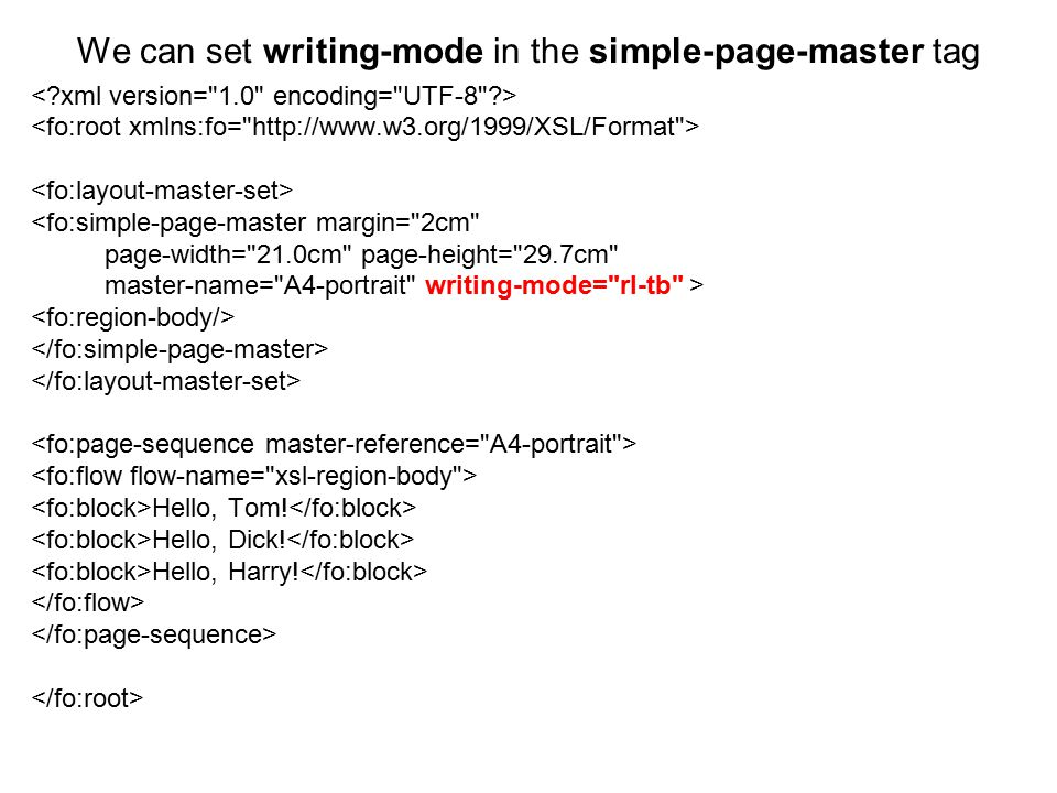 We can set writing-mode in the simple-page-master tag