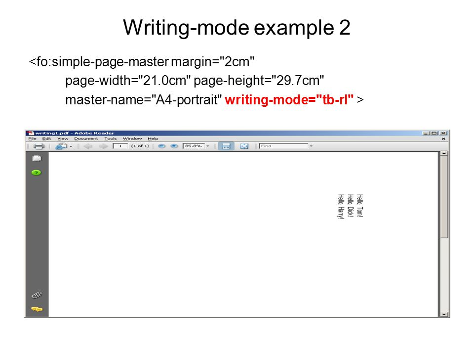 Writing-mode example 2 <fo:simple-page-master margin= 2cm