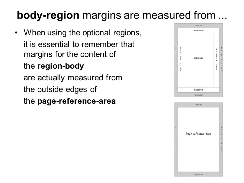 body-region margins are measured from ...