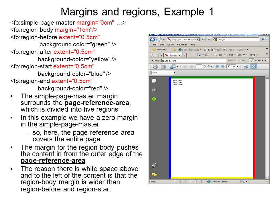 Margins and regions, Example 1