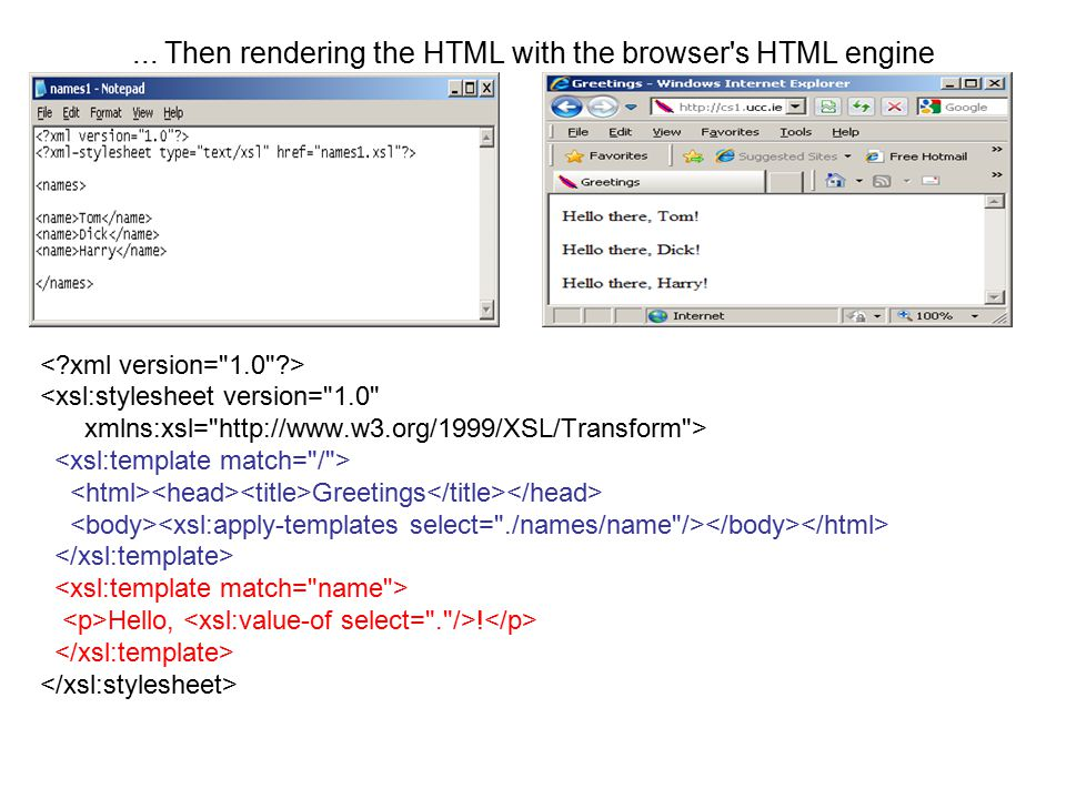 ... Then rendering the HTML with the browser s HTML engine