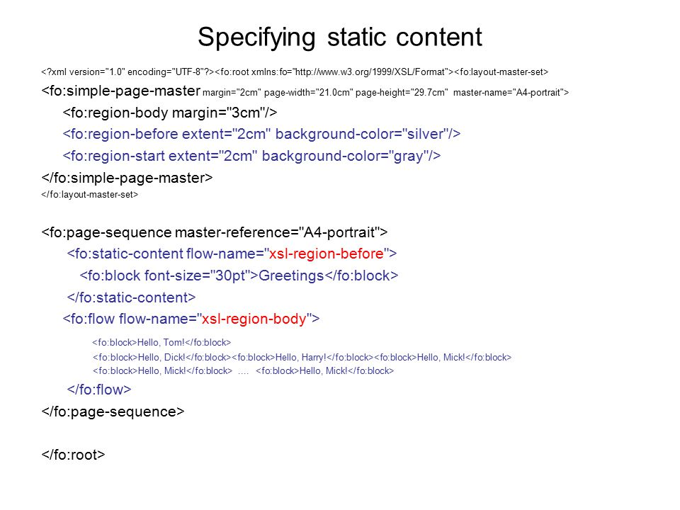 Specifying static content