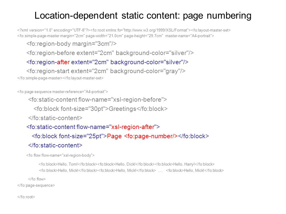 Location-dependent static content: page numbering