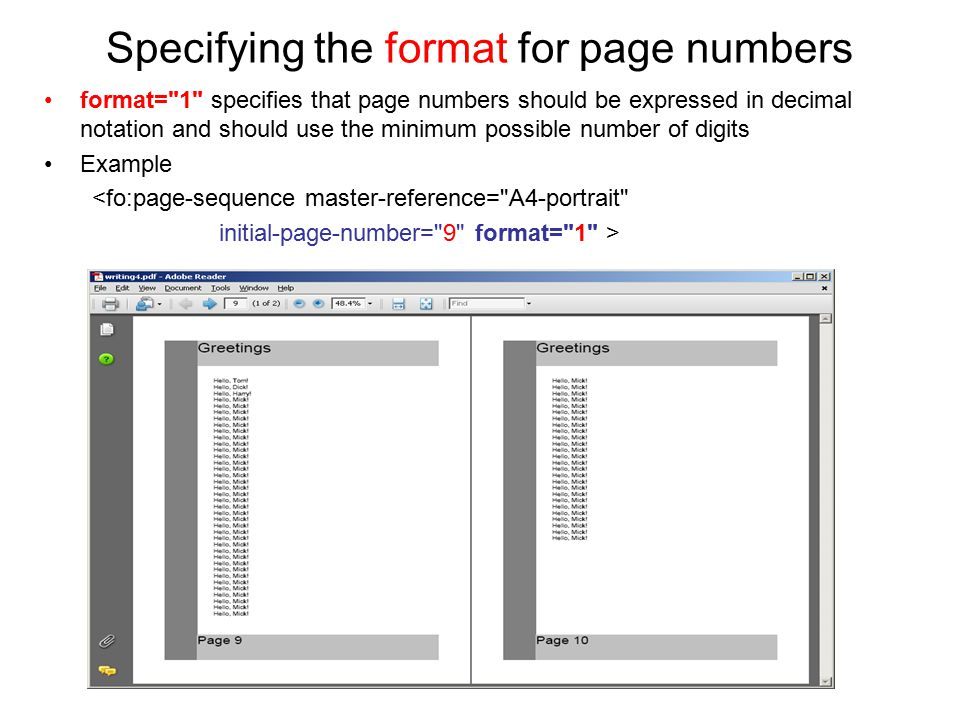 Specifying the format for page numbers