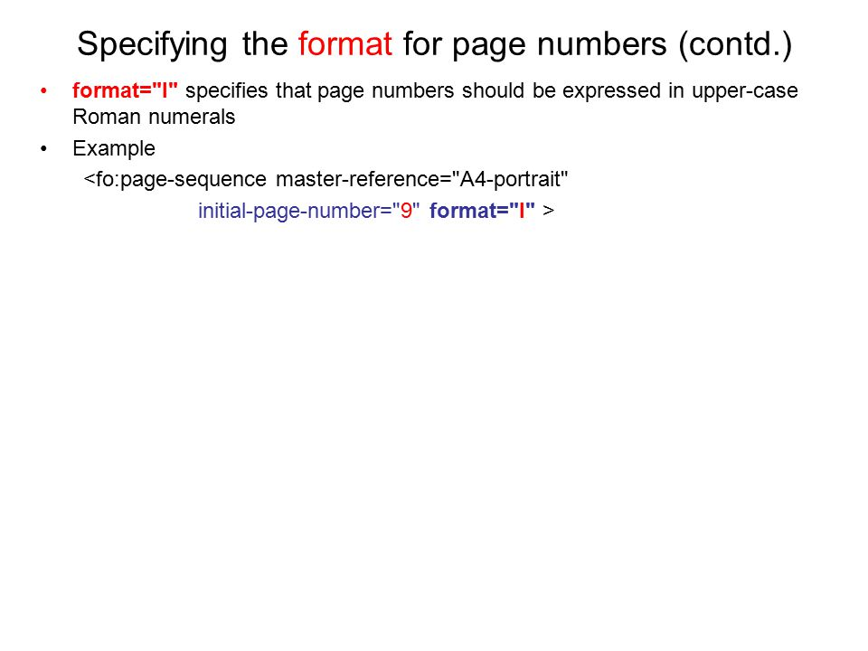 Specifying the format for page numbers (contd.)