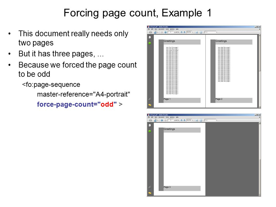 Forcing page count, Example 1