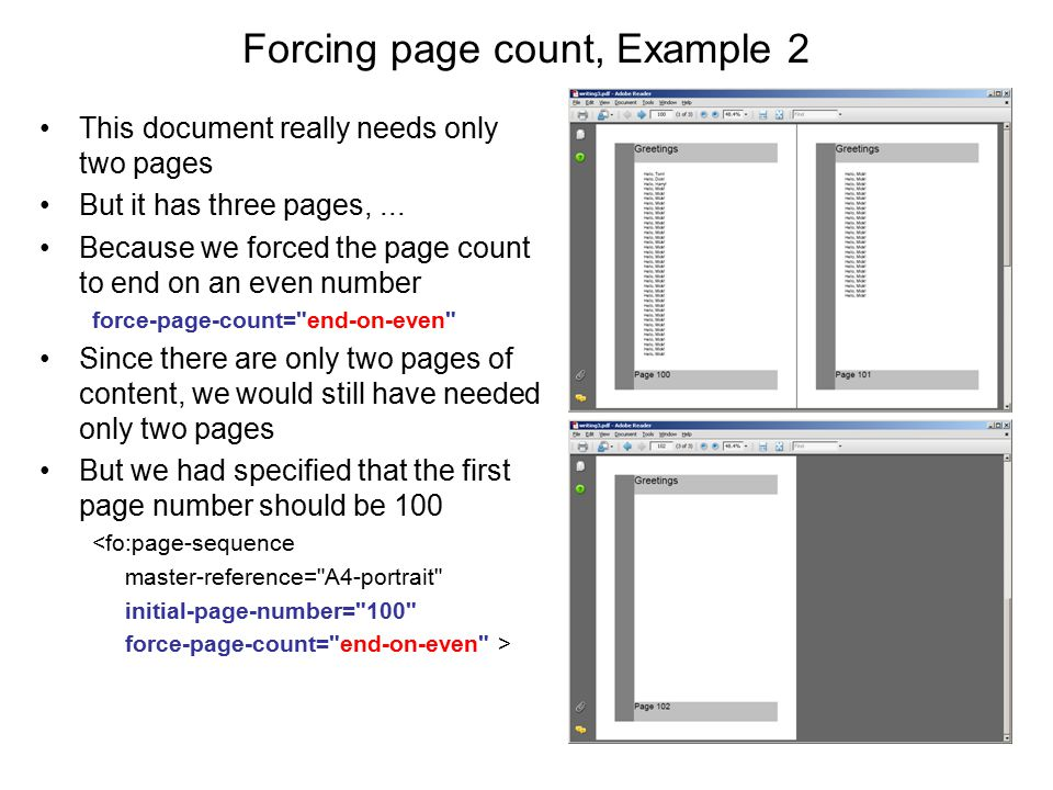 Forcing page count, Example 2