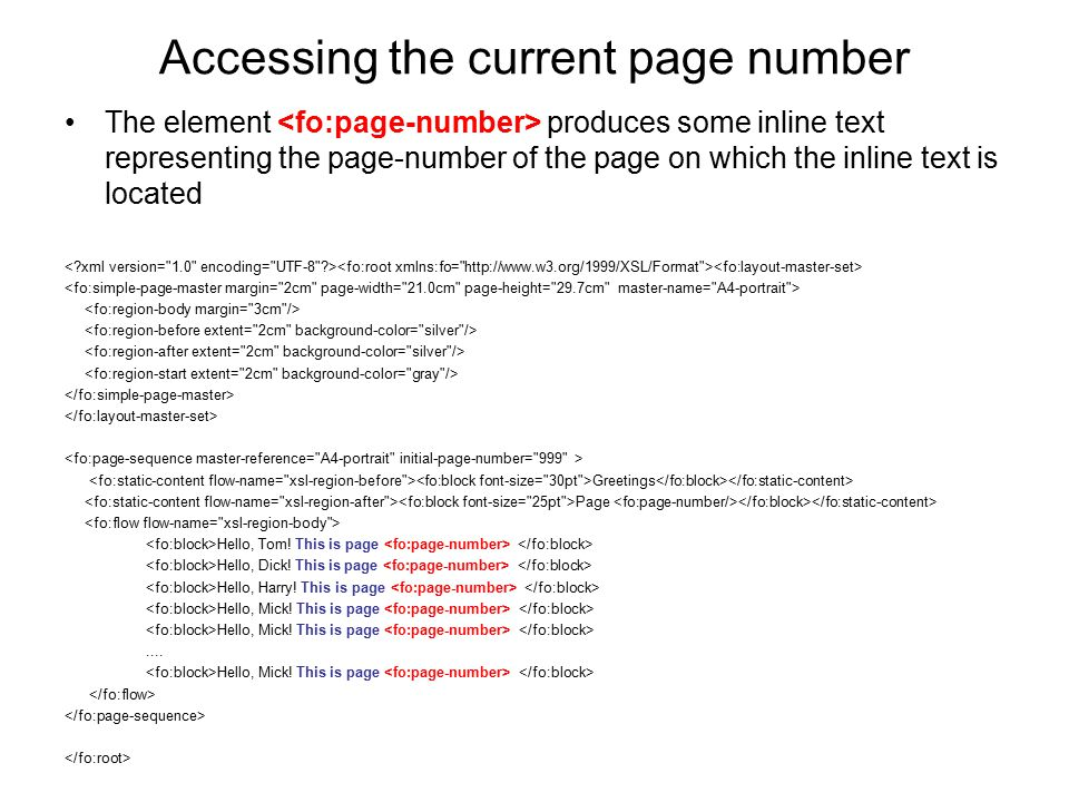 Accessing the current page number