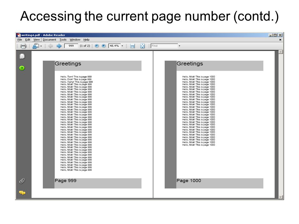 Accessing the current page number (contd.)