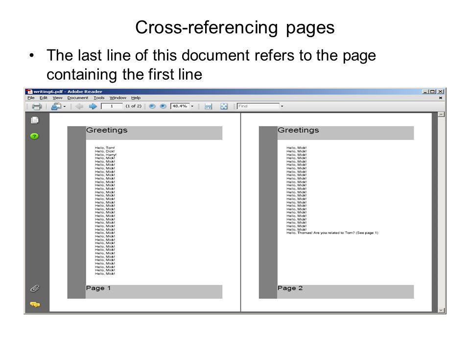 Cross-referencing pages