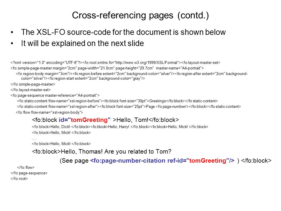 Cross-referencing pages (contd.)