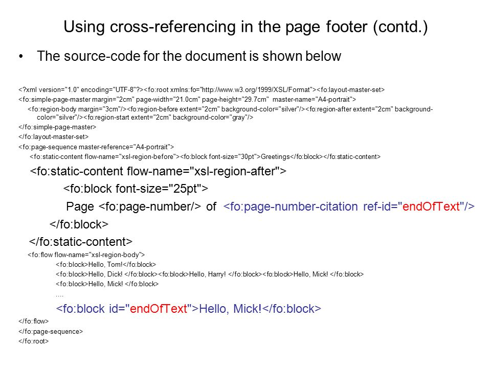 Using cross-referencing in the page footer (contd.)