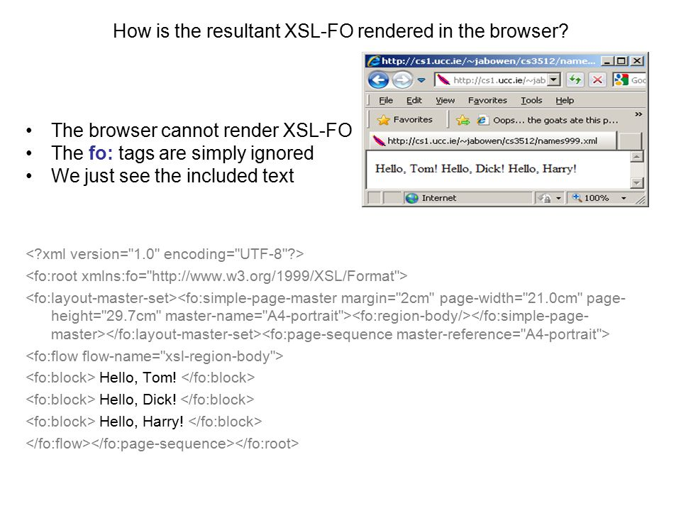 How is the resultant XSL-FO rendered in the browser