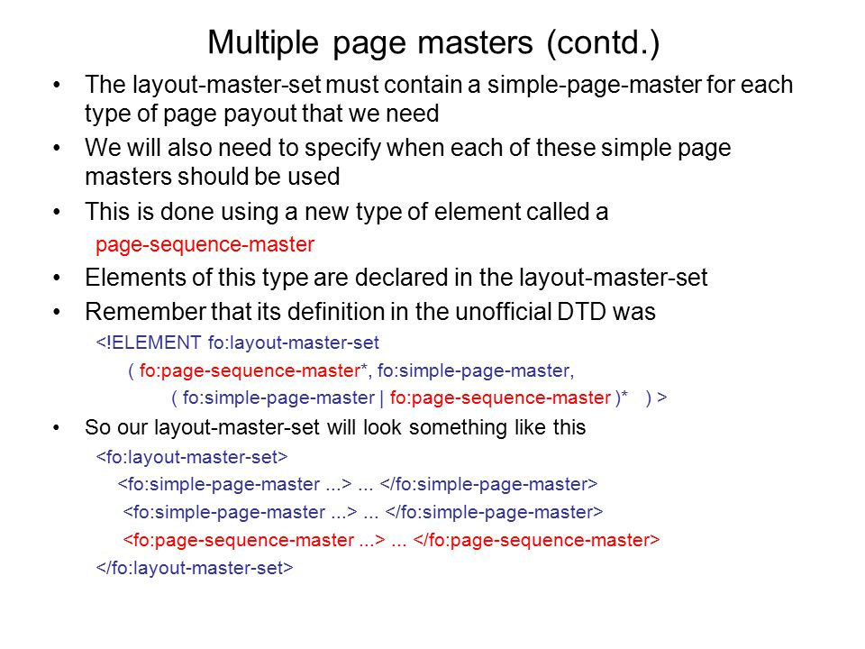 Multiple page masters (contd.)