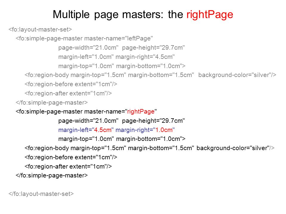 Multiple page masters: the rightPage