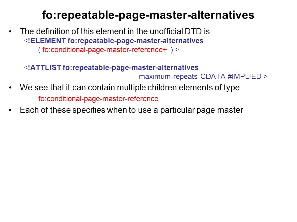 fo:repeatable-page-master-alternatives