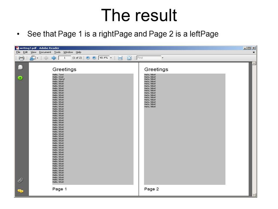 The result See that Page 1 is a rightPage and Page 2 is a leftPage