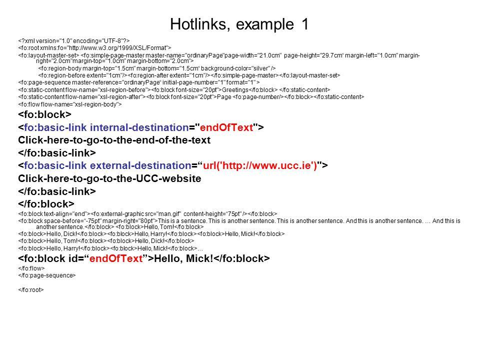 Hotlinks, example 1 <fo:block>