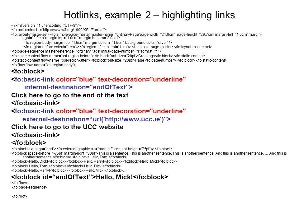Hotlinks, example 2 – highlighting links