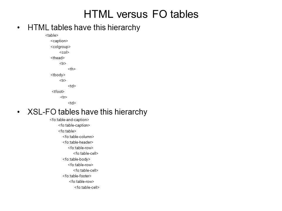 HTML versus FO tables HTML tables have this hierarchy