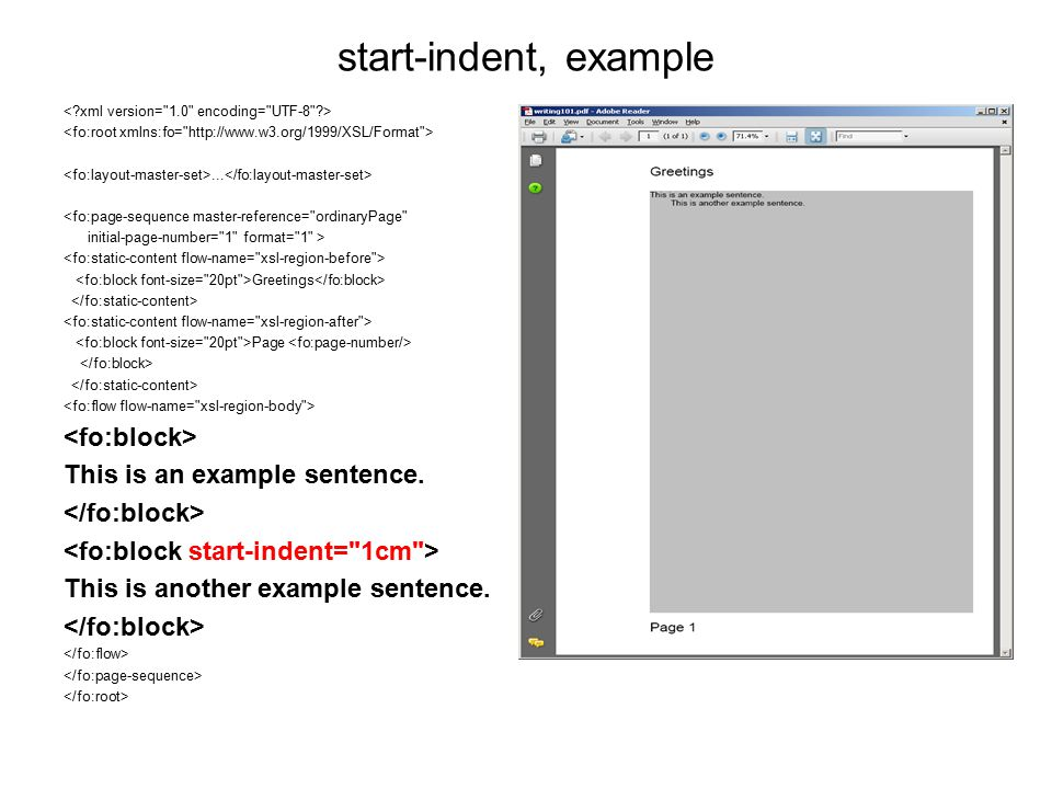 start-indent, example <fo:block> This is an example sentence.
