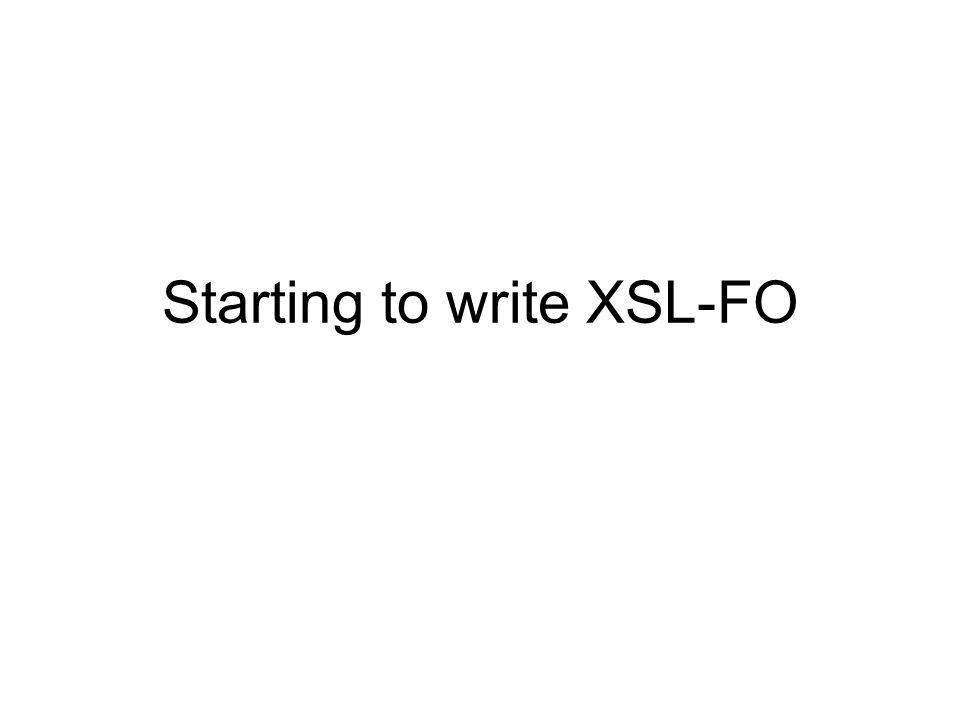 Starting to write XSL-FO