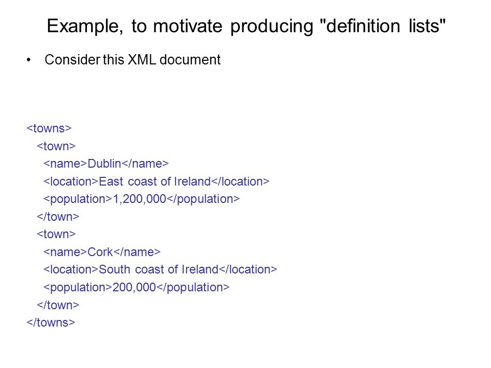 Example, to motivate producing definition lists