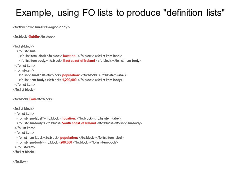 Example, using FO lists to produce definition lists