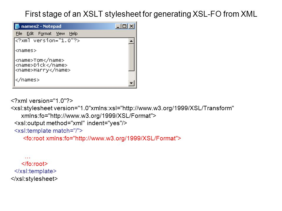 First stage of an XSLT stylesheet for generating XSL-FO from XML