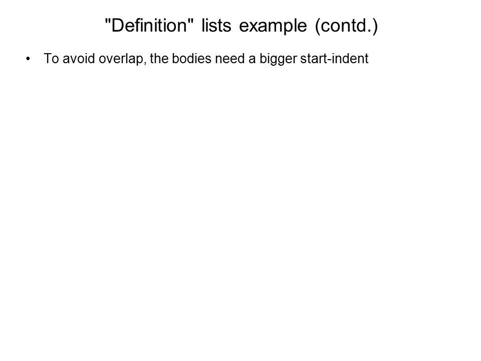Definition lists example (contd.)
