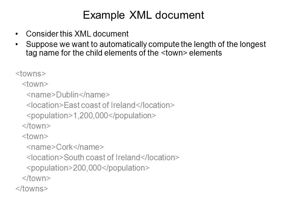 Example XML document Consider this XML document