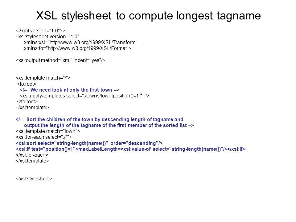 XSL stylesheet to compute longest tagname