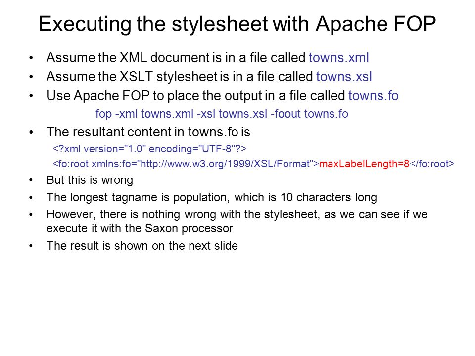 Executing the stylesheet with Apache FOP