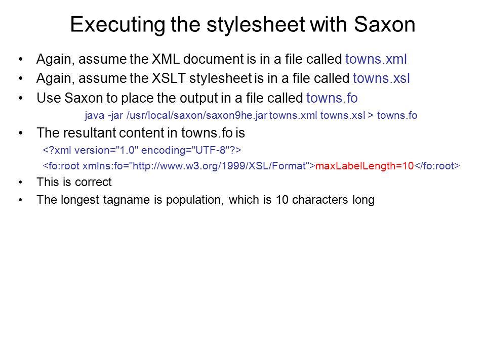 Executing the stylesheet with Saxon