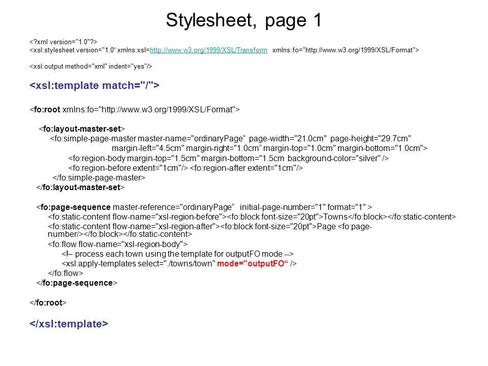Stylesheet, page 1 <xsl:template match= / >