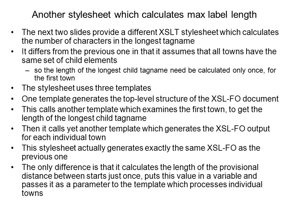 Another stylesheet which calculates max label length